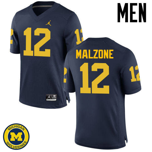 Men Michigan Wolverines #12 Alex Malzone College Football Jerseys Sale-Navy