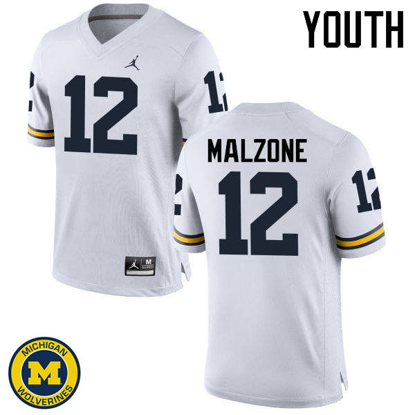 Youth Michigan Wolverines #12 Alex Malzone College Football Jerseys Sale-White