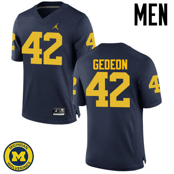 Men Michigan Wolverines #42 Ben Gedeon College Football Jerseys Sale-Navy