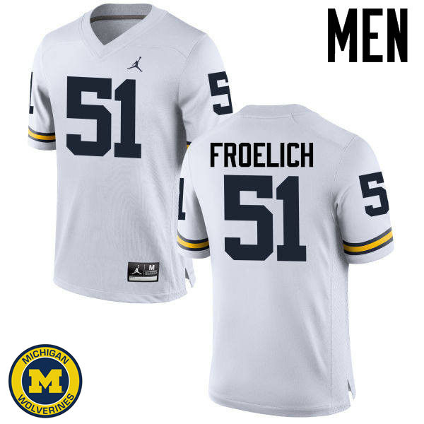 Men Michigan Wolverines #51 Greg Froelich College Football Jerseys Sale-White